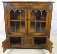Bookcase Oak Leaded Glazed Standing Bookcase by Old Charm - SOLD